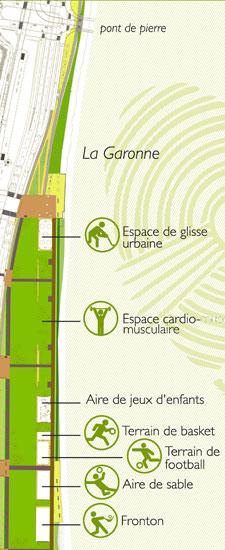 plan de situation du Parc Saint Michel situé entre le quai Sainte Croix et le pont de Pierre - 41.2ko